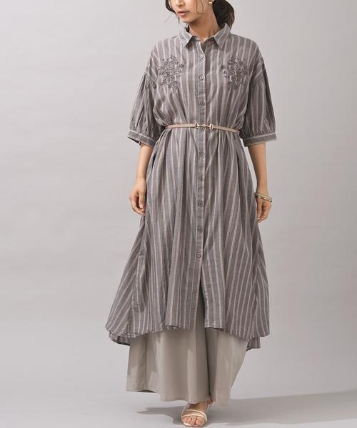 [rps] 刺繍入りバルーン袖シャツワンピース