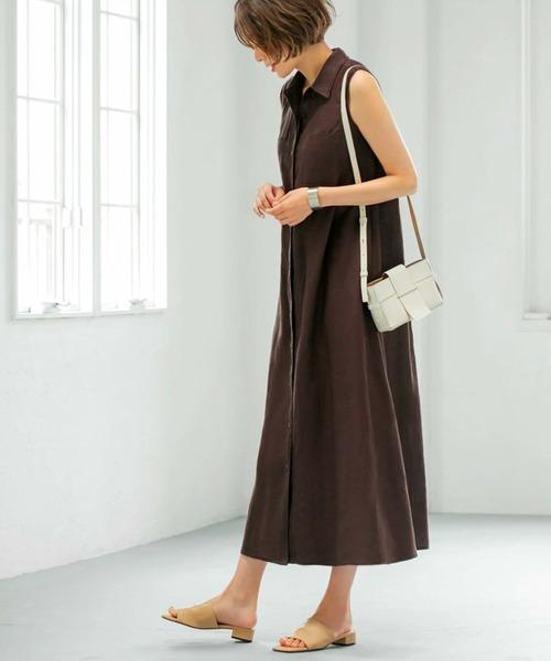 [STYLE DELI] 【LUXE】リネン100%ノースリーブシャツドレス