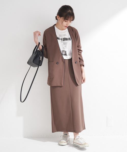 [LAVEANGE] [洗える]カルゼポンチパイピングジャケット【セットアップ・大きいサイズ対応】