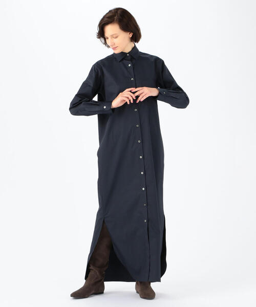 [TOMORROWLAND] 【WEB先行予約】コットンポリエステルツイル ロングシャツドレス