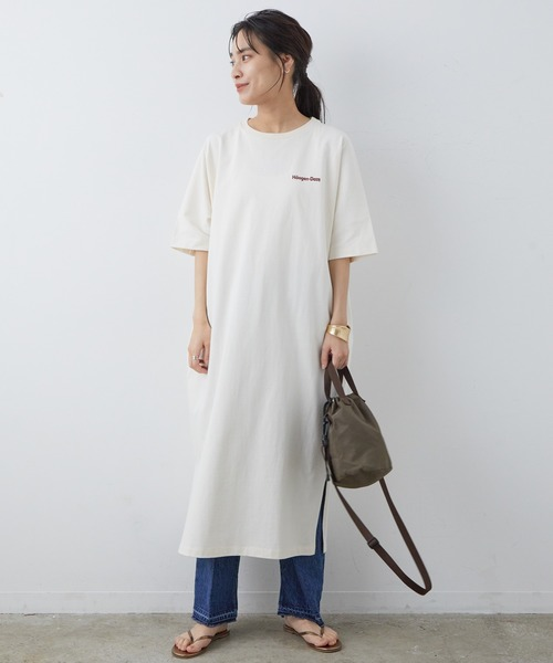 [ADAM ET ROPE'] [完売カラー追加生産決定!]【Haagen-Dazs for SALON】Tシャツワンピース