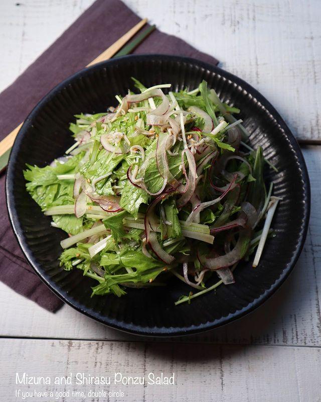 あっさり。水菜としらすのポン酢サラダレシピ