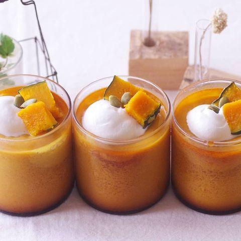 シンプルな洋菓子。かぼちゃプリンレシピ