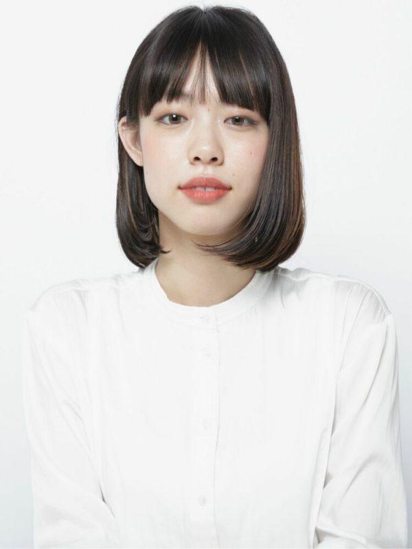 ワンレンボブ×前髪ぱっつん