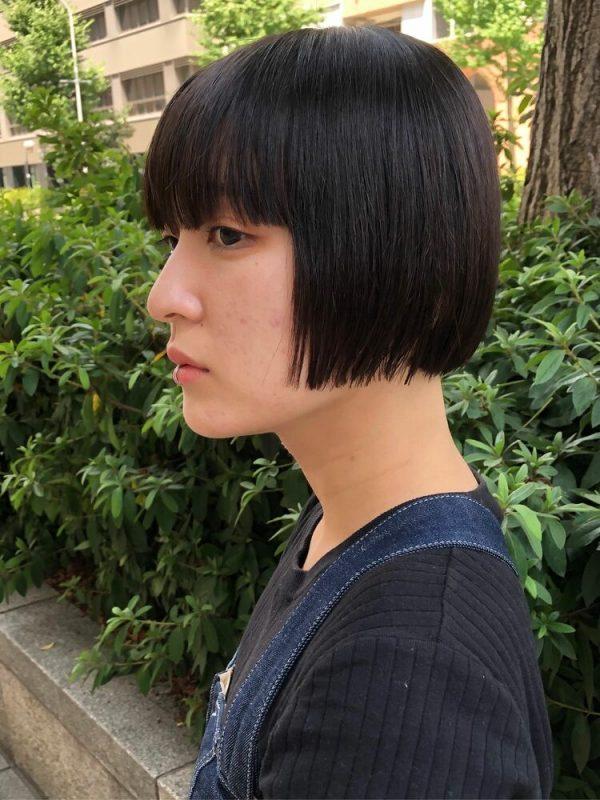 ショートボブ×前髪ぱっつん