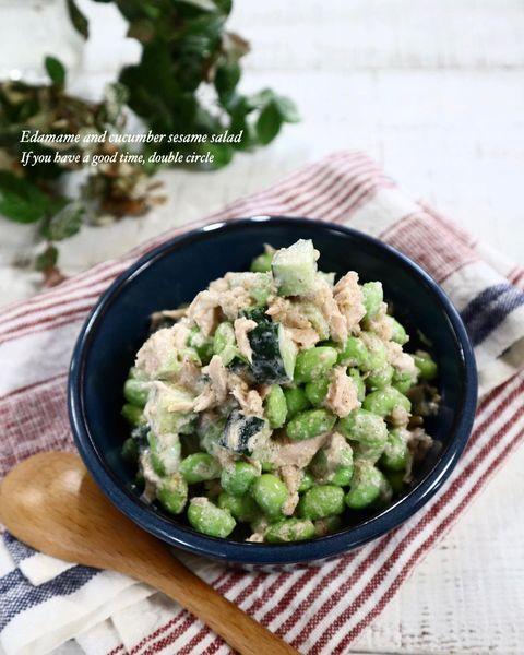 人気の枝豆ときゅうりのツナごまサラダレシピ