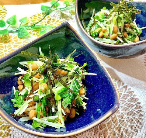 水菜とカイワレ大根のわさび納豆和え