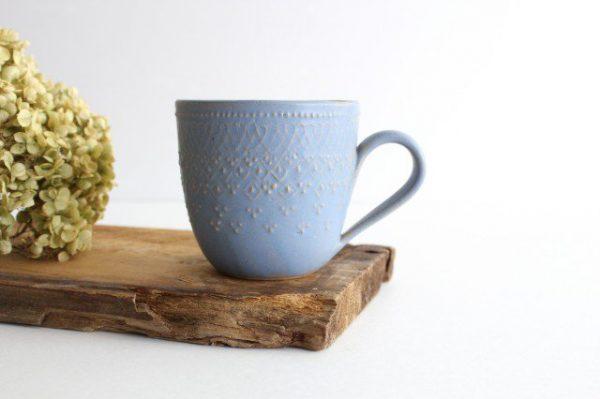 フレンチレース マグカップ ブルーグレー 陶器 わかさま陶芸 益子焼
