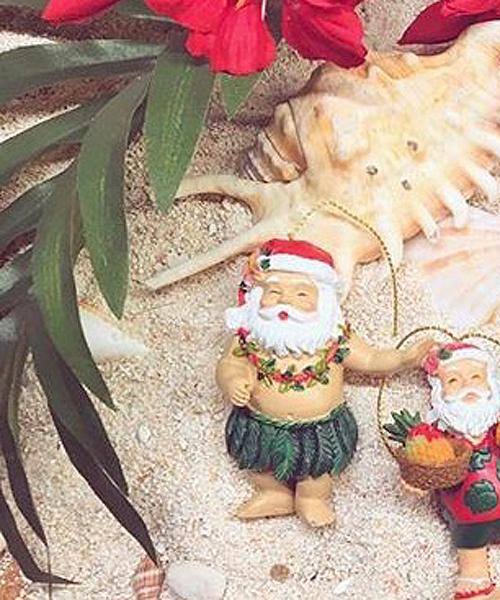 kahiko】Hand Painted Christmas Ornament ハワイアンサンタクロース