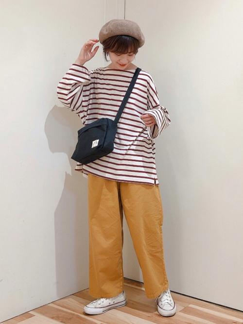 ウールベレー帽×レディースイージーパンツ