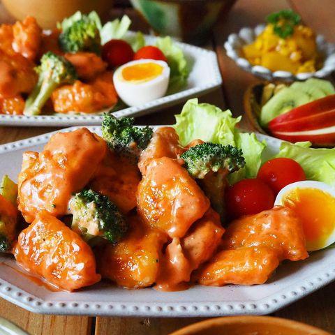 鶏むね肉とブロッコリーのオーロラソース和え