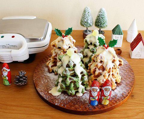 野菜ワッフルのクリスマスツリーケーキレシピ