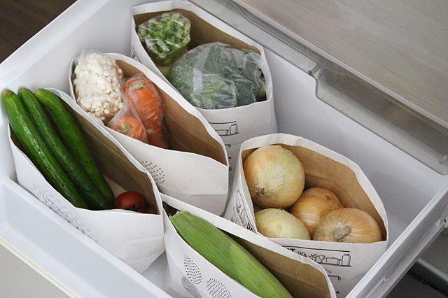 野菜の仕分けにクラフトバッグ
