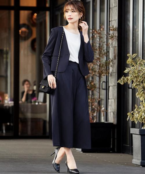 [GIRL] ノーカラージャケット&ミモレ丈パンツの2点セットアップスーツ