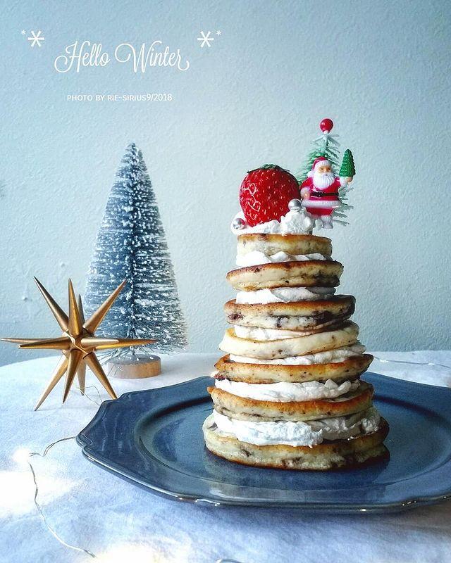パンケーキのクリスマスツリーケーキレシピ