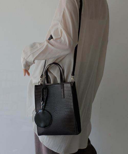 【VitaFelice】クロココインケース付き2wayスクエアショルダーバッグ