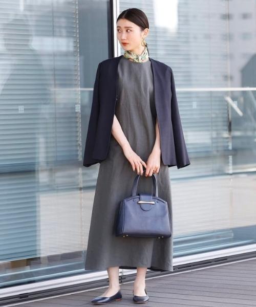 [BEAMS WOMEN] Demi-Luxe BEAMS / レーヨンシルク カラーレスジャケット 21FO