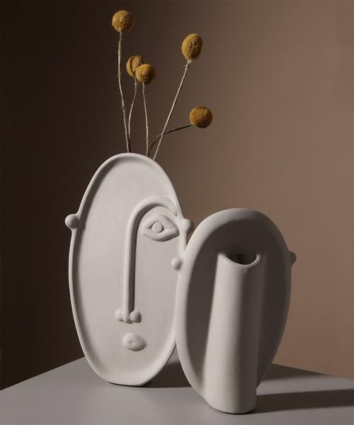 [aimoha] 不器用なフェイスオブジェ花瓶