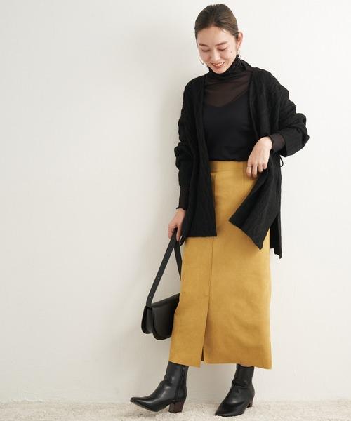 [LAVEANGE] [洗える]スエードライクロングスカート【大きいサイズ対応】
