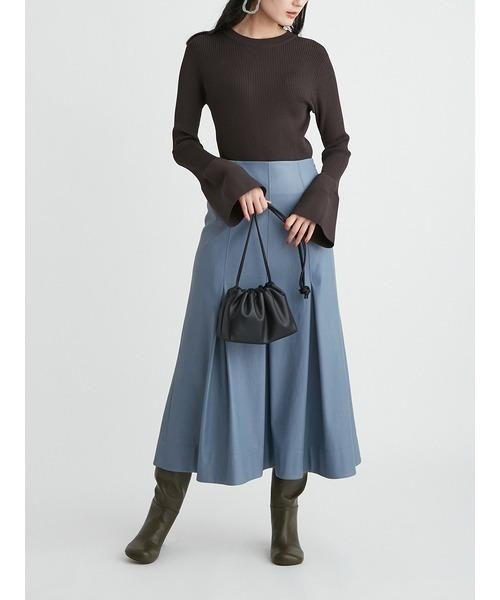 ふりミシンレザーライクナローロングスカート