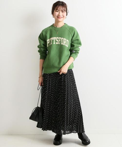 [IENA] ドットジャガードプリーツスカート【ウエストゴム】◆