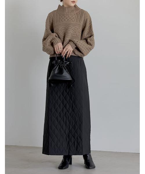 キルティングIラインロングスカート