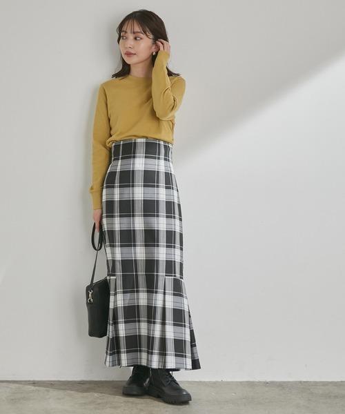 女性らしさを引き立つ、チェックアソートマーメイドスカート