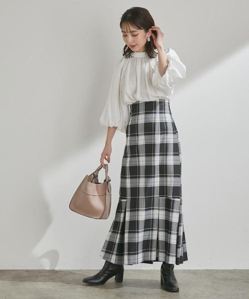 [ViS] 女性らしさを引き立つ、チェックアソートマーメイドスカート