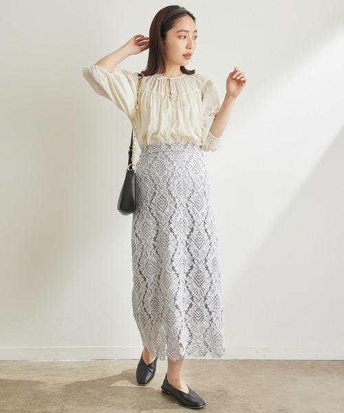 [ViS] 【追加・新色】綺麗だけど楽に履ける、レディな幾何学レーススカート