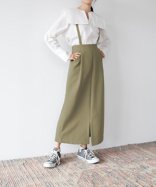 サスペンダーフロントスリットロングタイトスカート