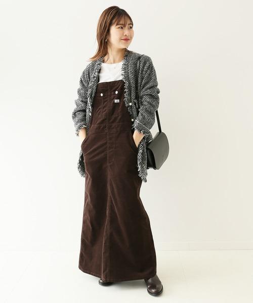 ツイードジャケット×サロペットスカート