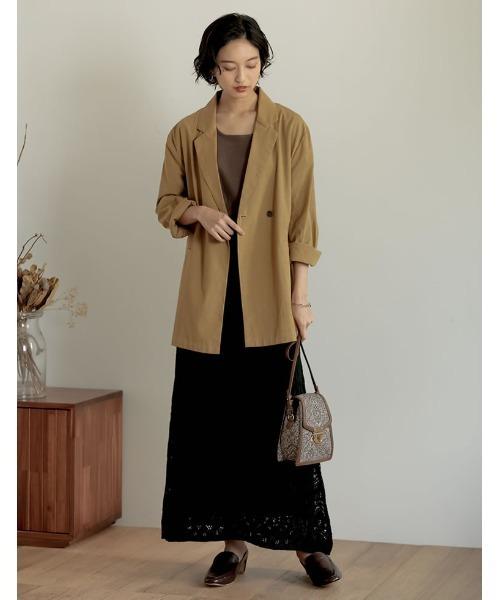 綿タッチアクリルニット透かし編みナロースカート