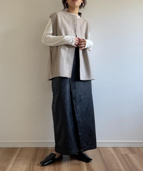 [properson] wool blend box vest / ウールブレンドボックスシルエットポケット付きベスト