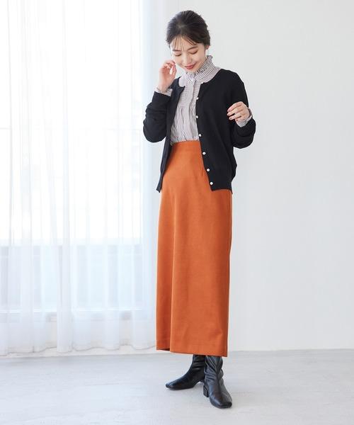 [ViS] 【選べる着丈】程よいストレッチ感。ベロアタッチタイトスカート