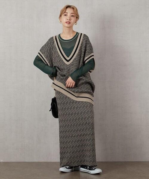 [FREAK'S STORE] ▽【WEB限定】ジャガードIラインスカート