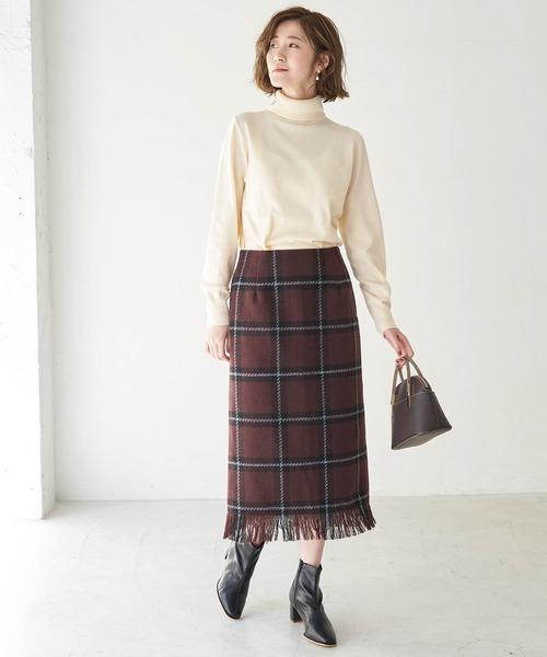 [ROPE' PICNIC] coffeeチェックアイラインスカート