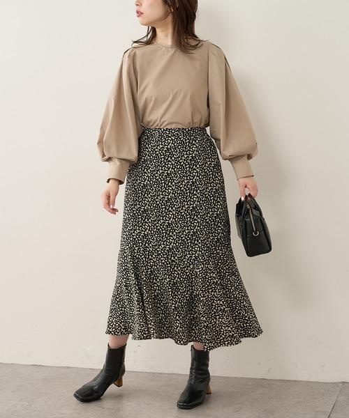 [natural couture] プリントヘム切替マーメイドスカート