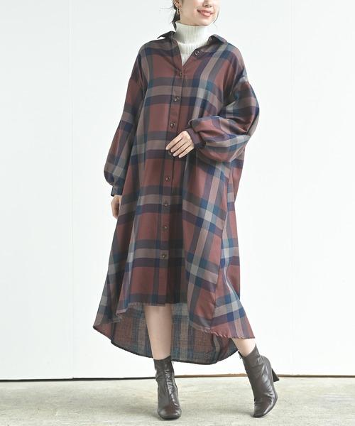 [rps] ボリューム袖チェックシャツワンピース