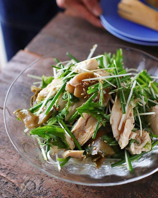 中華の美味しい蒸し鶏ザーサイの香味和え