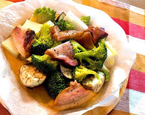 ブロックベーコン、かぶ、ブロッコリー、蒸し料理、温野菜。