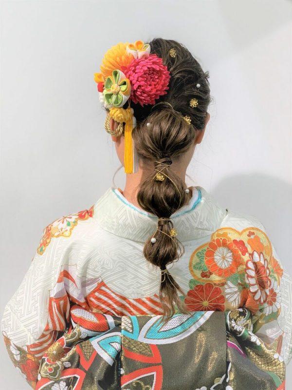 玉ねぎヘアアレンジ×フラワーヘッドパーツ
