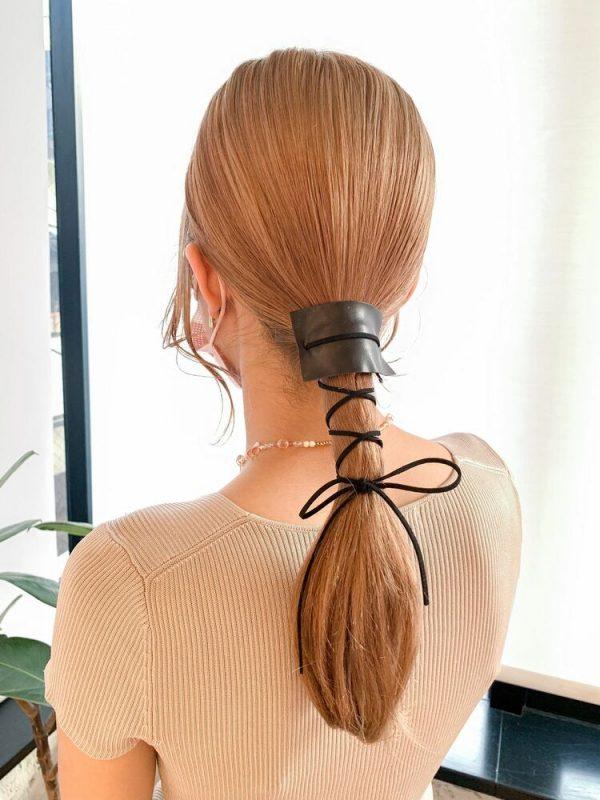 おしゃれ紐を使った冬のヘアアレンジ