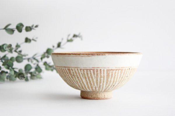 美濃焼 松葉象がん飯碗 ナチュラル 陶器
