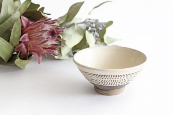 4寸飯碗 トビカンナ 陶器 小鹿田焼