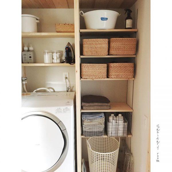 無印ラタンバスケットが活躍する洗濯機周り収納