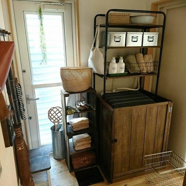 無印トタンボックスのある洗濯機周り収納