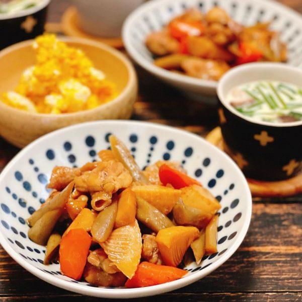 甘辛い味付け料理!鶏ごぼうの煮物