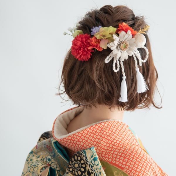 編み込みアレンジ×フラワーヘッドパーツ