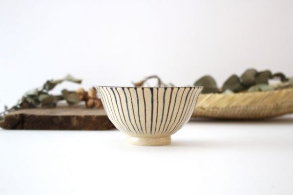 美濃焼 二色十草 反中平碗 青 陶器