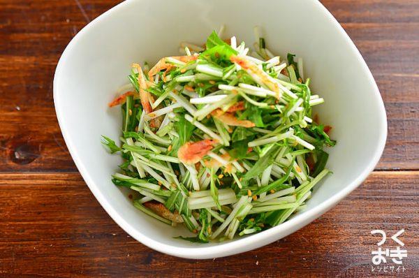 食感のよい水菜と桜えびのポン酢サラダレシピ